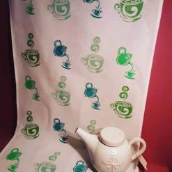 Hand printed  tea party design tea towel.