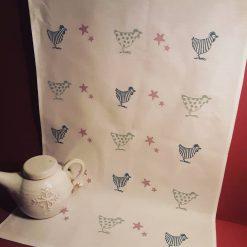 Hand printed  chicken themed tea towel.