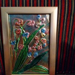 Soothing floral metal foil art picture