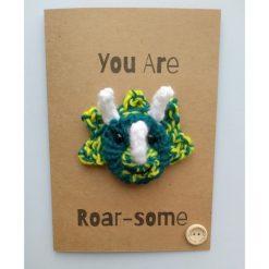 Knitted dinosaur card