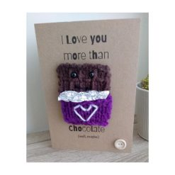 Knitted chocolate bar valentine's day card