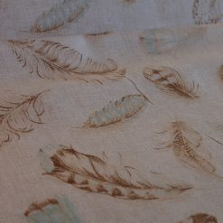 1/2 Mtr Linen Look Canvas Blue Feather Fabric / 50% Cotton & 50% Polyester