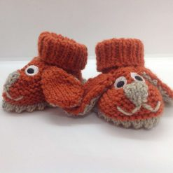 Baby booties newborn rust and beige dogs Acrylic Hand knitted
