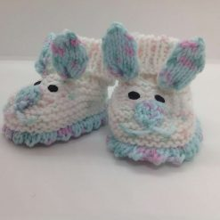 Baby booties newborn white spot and turquoise spot rabbits Acrylic Hand knitted
