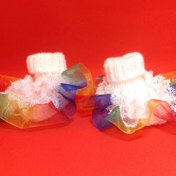 Baby booties 0-3m white with white and rainbow organza ribbon hand knitted (Copy)