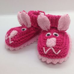 Baby booties 3-6 months cerise and pink rabbits Acrylic Hand knitted