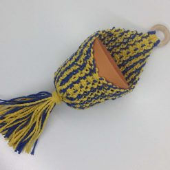 macrame plant pot holder and pot royal and golden yellow hand made