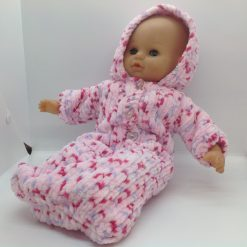 "Dolls clothes to fit 16"" doll sleeping bag in pink mix hand knitted"