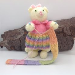 """Cat knitting, not a toy, called """"Help I've run out of wool"""" hand knitted"""
