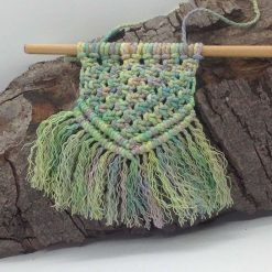 Small macrame wall hanging green mix11cm hand made