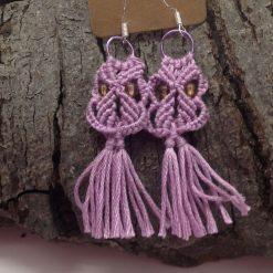 Earrings macrame owls in lilac hand made