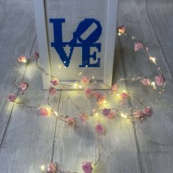 Valentines 'LOVE' gift. Cross stitched LOVE in Blue with a white frame 6x4. Handmade Valentines gift. New York Love Sculpture