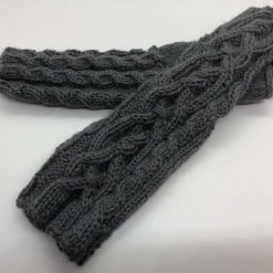 Alpaca Celtic Fingerless Gloves - Grey