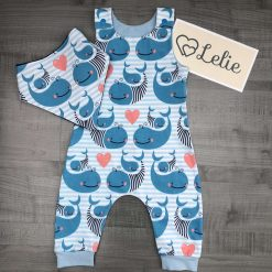 Romper, dribble bib, lion, tractor, choice of fabrics, baby, boy, girl, child, diggers, whales, bunnies, custom-made, cotton,