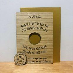 Personalised 'Pocket Hug' Lockdown Wood Engraved Card