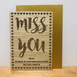 Personalised Wood Engraved Card 'Miss You'