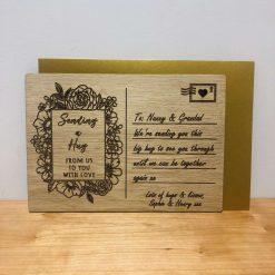 Personalised 'Sending a Hug' Wood Engraved Post Card