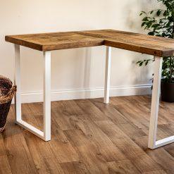 Home Office Desk - L Shape White Metal Leg Desk - Corner Home Desk - Work Table