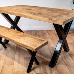 Industrial Style Dining Table and Bench - Chunky X Frame Metal Legs - Rustic Dining Set