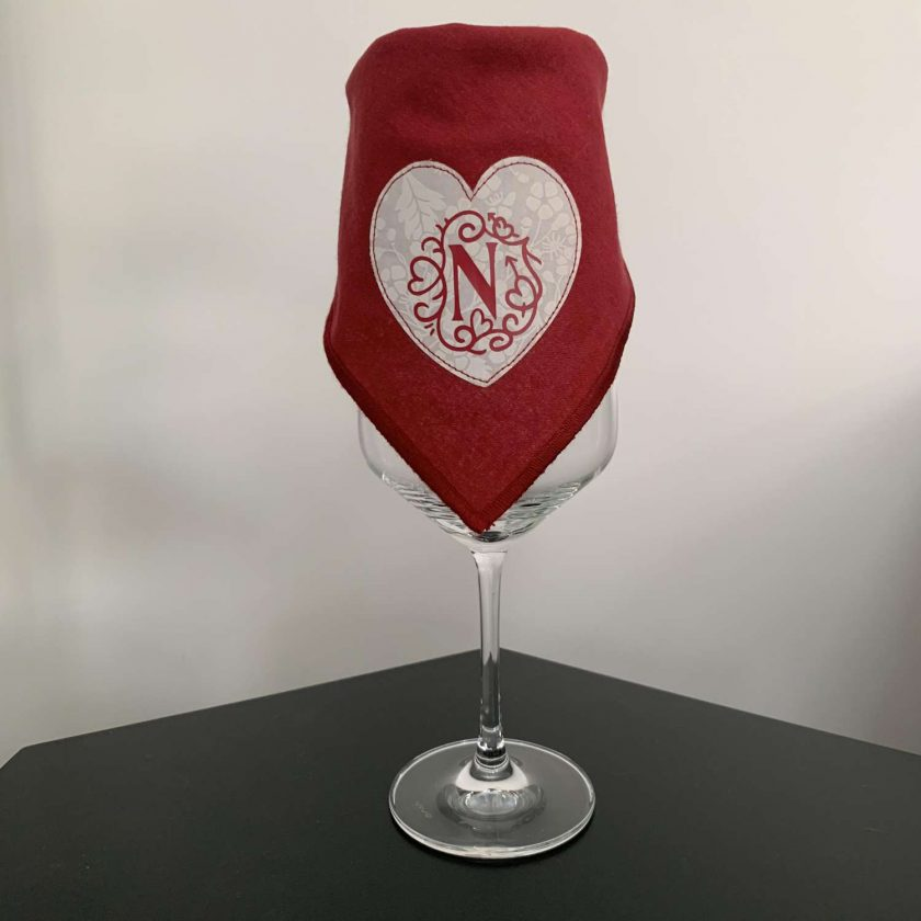 Pair of personalised heart napkins