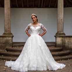 Romantic Fantasy Hand Beaded 3D lace Princess Wedding dress | Gown Style Octavia