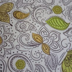 1/2 Mtr Floral Flow On Mellow Yellow / Lewes & Irene 100% Cotton Fabric