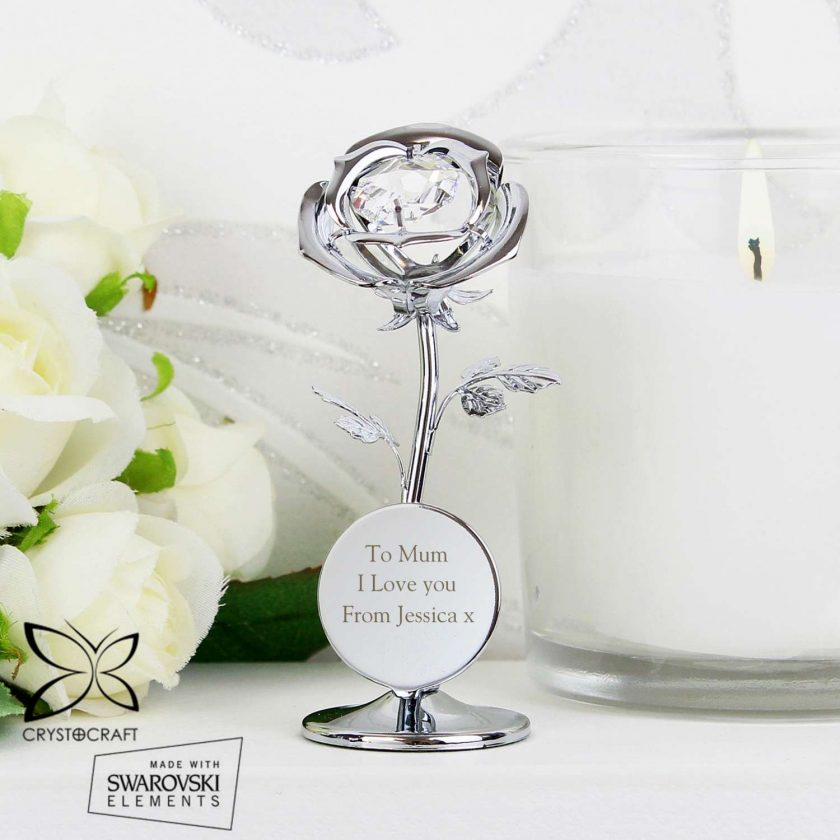 Personalised Crystocraft Rose Ornament valentines or mothers day gift 1