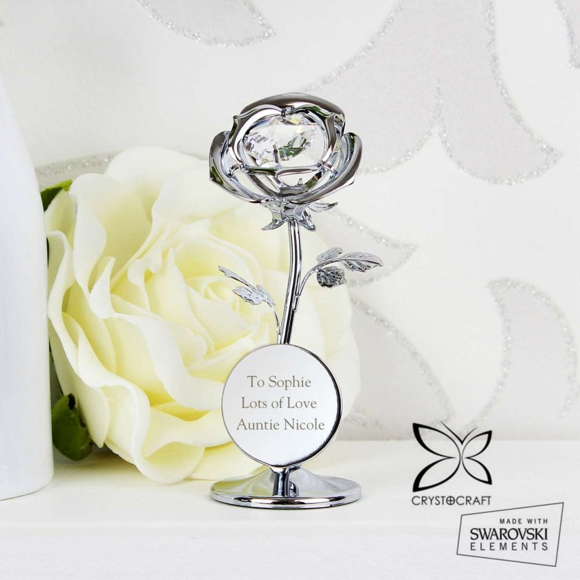 Personalised Crystocraft Rose Ornament valentines or mothers day gift 5