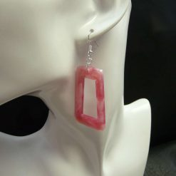 Big Pink, Silver and White Earrings