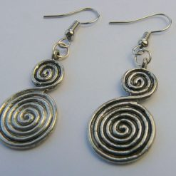 Antique Silver Circles Drop Earrings