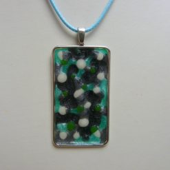 Spotty White, Black, Silver and Green Pendant Necklace