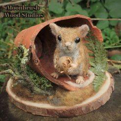 Wood Mouse in a flower pot , Needle Felt Animal, Needle Felt Mouse,  needle felting, fibre art, wildlife art, animal art, Mouse, Mice