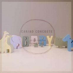 "Coloured Concrete Safari set and ""Baby"" letters"