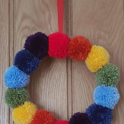 Rainbow Pom Pom Wreath