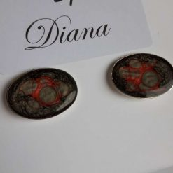 Resin artwork design Silver Plated Cufflinks in Reds and Onyx