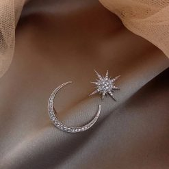 Aurora Silver Moon and Star Earrings