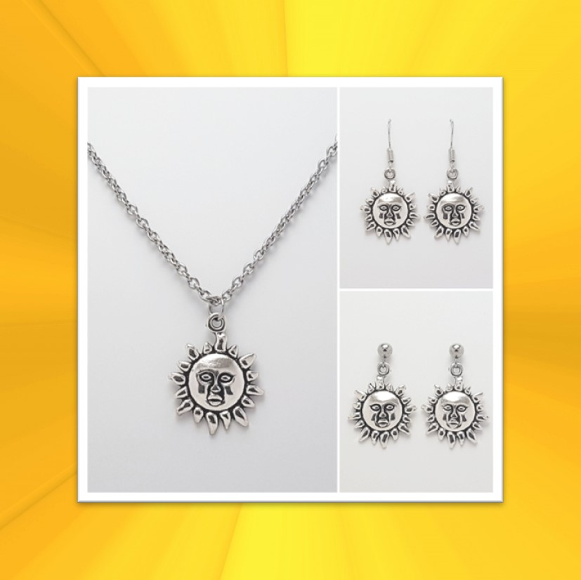Sun Necklace, Earrings, JewellerySet  Tibetan Silver Charm Birthday Christmas Mothers Mother's Day Valentine Anniversary Easter Boho Gift Set Ideas   Charming Gifts