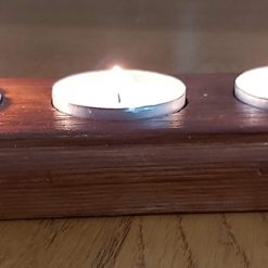 Rustic Wooden Tealight Holder with 3 Tealight Candles – Heart of Gold Series