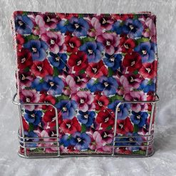 Set of 4 Anemone print Reusable Mini wipes/cloths/Eco friendly/ kitchen/bathroom