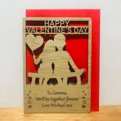 Personalised 'Couple in Love' Wood Engraved Valentine's Day Card