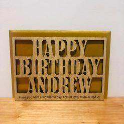 Personalised Wood Engraved 'Happy Birthday' Card
