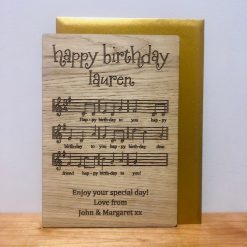 Personalised Wood Engraved 'Happy Birthday To You' Card