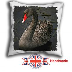 Black Swan Cushion Cover, Black Swan Cushion, 6 sizes, Handmade