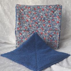 Set of 4 Blue floral Reusable Mini wipes/cloths/Eco friendly/ kitchen/bathroom