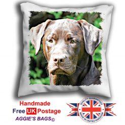 Chocolate Lab Cushion Cover, Chocolate Labrador Cushion, Labrador Pillow, 6 Sizes, Handmade