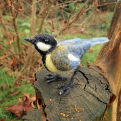 Needle Felt Great Tit, Needle Felt Animal, Bird, Woodland Creature, Bird Sculpture, Fibre art, Needle felting, Wildlife art
