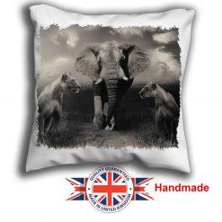 Elephant Cushion Cover, Elephant and Lioness Cushion, 6 sizes, Handmade