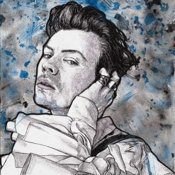 Harry Styles original watercolour and ink portrait.