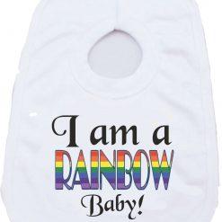 I am a Rainbow baby Birthday Christmas Present gift one-piece Sublimation Babygro White Baby Vest or bib 3