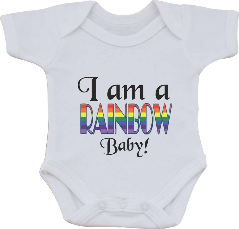 I am a Rainbow baby Birthday Christmas Present gift one-piece Sublimation Babygro White Baby Vest or bib 1